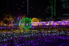 Festival 2017 d'illumination de la Thaïlande sur Ratchadapisek Soi 8, Bangkok, Thaïlande sur December21,2017 : Allumez l'arbre de Images stock