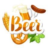 Festival da cerveja de Oktoberfest Ilustração de cor Ilustração ou cartaz para a festa Imagens de Stock Royalty Free