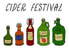 Festival da cidra Cidra de Apple ou da pera em umas garrafas de vidro diferentes do vintage Fermentação home outono ou coleção ve ilustração do vetor