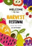 Festival da colheita Cartaz com ilustração dos frutos ilustração do vetor
