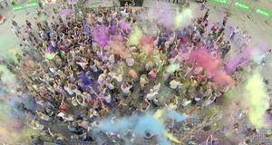 Festival da cor de Holi - foto aérea Foto de Stock