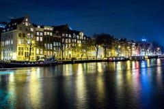 Festival da luz de Amsterdão da cena da noite Imagem de Stock