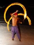 Festival da mostra do fogo na praia Fotos de Stock Royalty Free