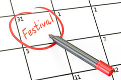 Festival date on calendar concept, 3D Royalty Free Stock Photos
