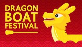 Festival de barco de dragão amarelo no projeto abstrato vermelho do vetor do fundo Imagens de Stock
