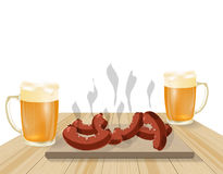 Festival de bière Bière blonde dans des tasses Plats frits, saucisses, hot-dogs sur les conseils en bois Illustration Photographie stock libre de droits