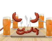 Festival de bière Bière blonde en verres Plats grillés, saucisses, hot-dog Illustration illustration stock
