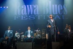Festival 2014 de bleus de Rawa : Les garçons aveugles de l'Alabama Photographie stock libre de droits