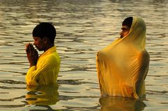 Festival de Chatt en la India. Foto de archivo