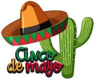 Festival de Cinco de Mayo con el cactus y el sombrero