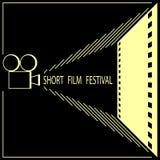 Festival de cinema curto, cartaz do festival de cinema do cinema fotografia de stock