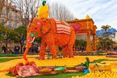 Festival de citron (Fete du Citron), Menton, France image libre de droits