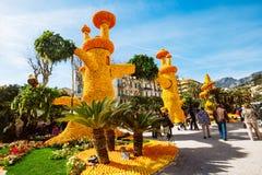 Festival 2019 de citron de Menton, art fait de citrons et oranges Thème fantastique des mondes photos libres de droits