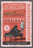 Festival de concert de musique, rétro vecteur illustration stock