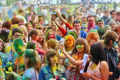 Festival de couleurs Holi à Tula, Russie Images libres de droits