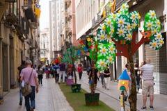 Festival de decorações florais em Girona Fotografia de Stock Royalty Free