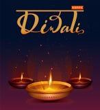 Festival de Diwali de luzes feliz Lâmpada de óleo retro no céu noturno do fundo com estrelas ilustração royalty free