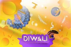 Festival de Diwali de luzes hindu Cartão criativo do molde com com elementos da decoração Mandala com sombra ilustração royalty free