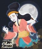 Festival de fantasma chino de señora Spirit Celebrating Hungry de la belleza, ejemplo del vector Foto de archivo