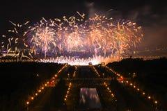 Festival de feu d'artifice de nuit à Moscou Photographie stock