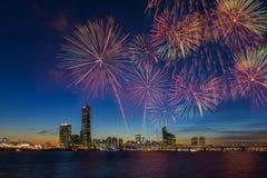 Festival de feux d'artifice dans la ville de Séoul, Corée du Sud Photo libre de droits