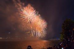 Festival de feux d'artifice de Séoul dans la ville de nuit, Corée du Sud Images libres de droits
