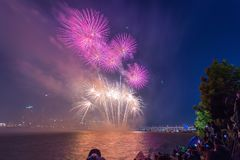 Festival de feux d'artifice de Séoul dans la ville de nuit, Corée du Sud Image stock