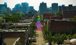 Festival de fierté gaie sur la rue de St-Catherine à Montréal, Canada Images libres de droits