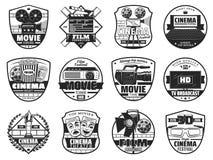 Festival de film, icônes de théâtre de cinématographie illustration de vecteur