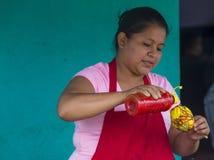 Festival de fleur et de paume dans Panchimalco, Salvador Image stock