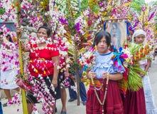 Festival de fleur et de paume dans Panchimalco, Salvador Photographie stock libre de droits