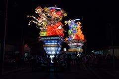 Festival de Goshogawara Tachi Neputa (flotador permanente) fotografía de archivo