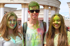 Festival de Holi de colores Imágenes de archivo libres de regalías