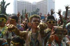 Festival de Holi en Indonesia Fotos de archivo