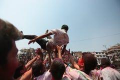 Festival de Holi en Nepal Imagen de archivo libre de regalías