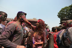 Festival de Holi en Nepal Imagenes de archivo