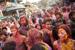 Festival de Holi (festival de colores) en Nepal Imagenes de archivo