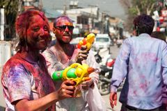 Festival de Holi (festival de couleurs) au Népal Photos libres de droits