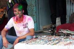 Festival de Holi (festival de couleurs) au Népal Images libres de droits