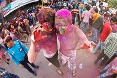 Festival de Holi (festival de couleurs) au Népal Photos stock