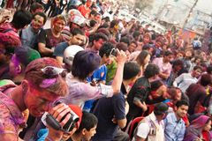 Festival de Holi (festival de couleurs) au Népal Image stock