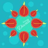 Festival de Indial de luces Cartel del vector con los saludos felices de Diwali ilustración del vector
