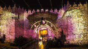 Festival de Jérusalem de lumière - porte de Damas Photographie stock