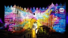 Festival de Jérusalem de la lumière 2018 dans la vieille ville Photographie stock libre de droits
