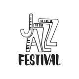 Festival de jazz - citation tirée par la main de lettrage de musique d'isolement sur le fond blanc Inscription d'encre de brosse  illustration stock