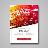 Festival de jazz musical del aviador del vector Plantilla del aviador del folleto del festival del fondo de la música Fotografía de archivo libre de regalías