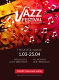 Festival de jazz musical del aviador del vector Plantilla del aviador del folleto del festival del fondo del cartel de la música stock de ilustración