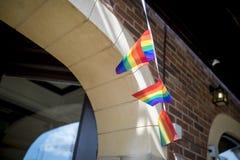Festival de la fierté le 19 août 2017 LGBT de Doncaster, drapeau d'arc-en-ciel buting o Photographie stock libre de droits