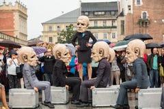 Festival de la noche del teatro de Kraków - KTO Teatre en plaza del mercado principal Fotografía de archivo libre de regalías