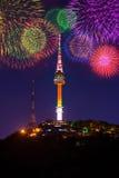 Festival de la torre y del fuego artificial de Seul en Corea Foto de archivo libre de regalías